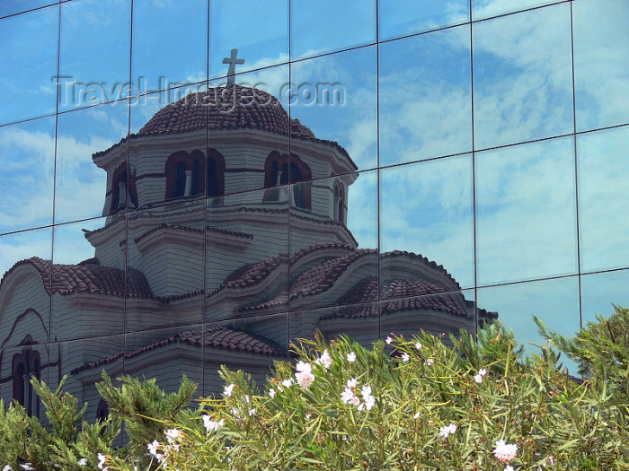 albania99: Durres / Drach, Albania: Orthodox church - reflection - photo by J.Kaman - (c) Travel-Images.com - Stock Photography agency - Image Bank
