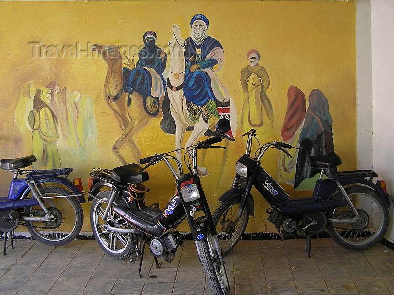 algeria127: Algeria / Algerie - M'chouneche: mopeds and camel riders - wall mural - photo by J.Kaman - vélomoteurs et cavaliers de chameau - mural - (c) Travel-Images.com - Stock Photography agency - Image Bank