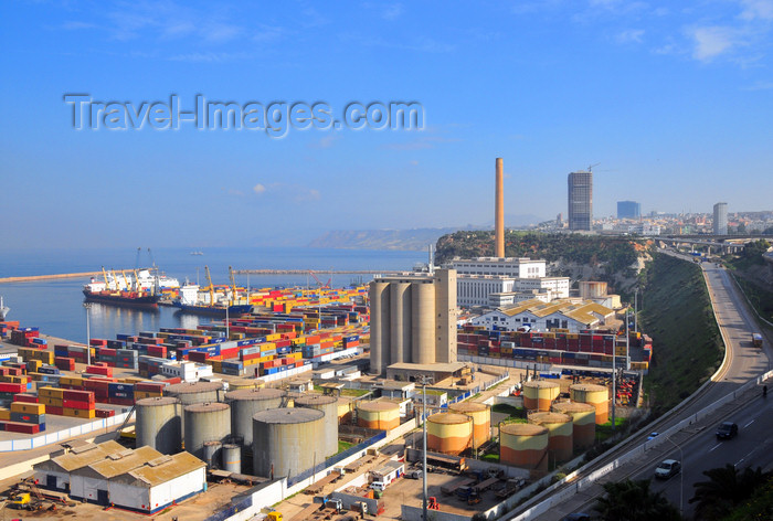 algeria193: Oran, Algeria / Algérie: looking East, along the harbor and Mimouch Lahcen road - shipping containers, fuel tanks and grain elevators - photo by M.Torres | le port et la Route Mimouch Lahcen - Réservoirs de carburant, conteneurs et silos à céréales - (c) Travel-Images.com - Stock Photography agency - Image Bank
