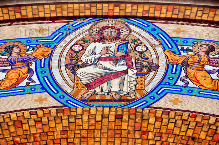 algeria201: Oran, Algeria / Algérie: Cathedral of the Sacred Heart of Jesus Christ - tiles - Christ on the façade - Boulevard Hammou Bou Tlelis - photo by M.Torres | Cathédrale du Sacré Cœur de Jésus - carreaux - Le Christ sur la façade - (c) Travel-Images.com - Stock Photography agency - Image Bank
