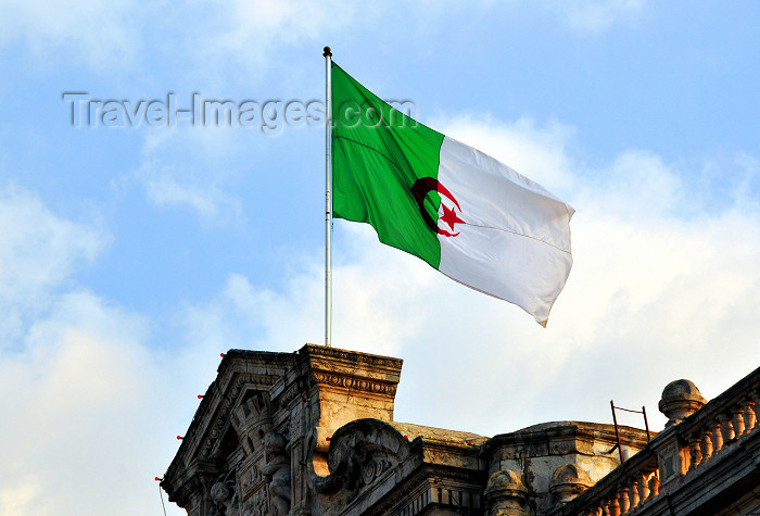 algeria238: Oran, Algeria / Algérie: Algerian flag at the City Hall - Place du 1er Novembre - photo by M.Torres | drapeau algérien - Mairie d'Oran - Place du 1er Novembre 1954 - Plaza de Armas - (c) Travel-Images.com - Stock Photography agency - Image Bank