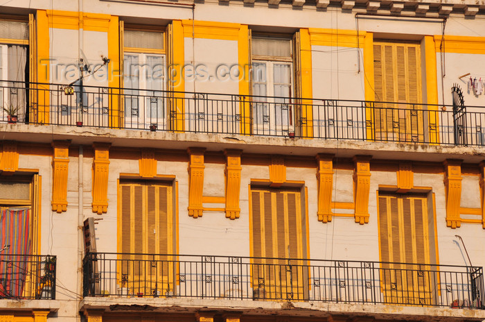 algeria252: Oran, Algeria / Algérie: yellow and white balconies - Oran's colonial architecture - Bd Maata Mohamed El Habib - former Bd Joffre - photo by M.Torres | balcons en jaune et blanc - l'architecture coloniale d'Oran - Boulevard Maata Mohamed El Habib - ex Boulevard Maréchal Joffre - (c) Travel-Images.com - Stock Photography agency - Image Bank