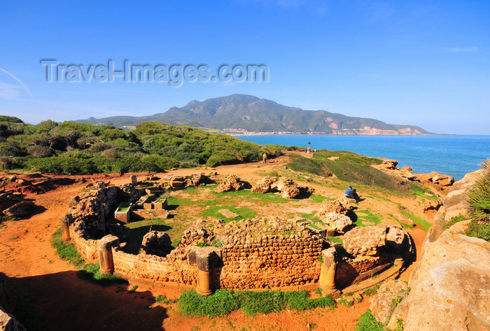 algeria398: Tipasa, Algeria / Algérie: circular mausoleum  - Tipasa Roman ruins, Unesco World Heritage site | mausolée circulaire - ruines romaines de Tipasa, Patrimoine mondial de l'UNESCO - photo by M.Torres - (c) Travel-Images.com - Stock Photography agency - Image Bank