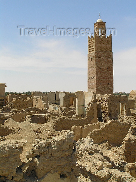 algeria42: Algérie / Algerie - Temassine / Temacine - Wilaya de Ouargla: ruins and minaret - photo by J.Kaman - ruines et minaret - remparts faits de troncs de palmiers enchevêtrés - (c) Travel-Images.com - Stock Photography agency - Image Bank