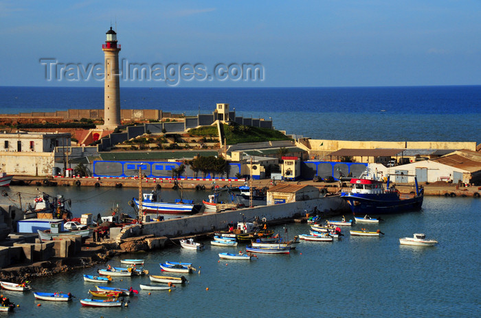 algeria432: Cherchell - Tipasa wilaya, Algeria / Algérie: harbour - lighthouse and small boats | port - phare et petits bateaux - photo by M.Torres - (c) Travel-Images.com - Stock Photography agency - Image Bank