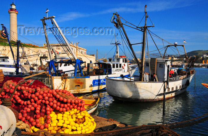 algeria442: Cherchell - Tipasa wilaya, Algeria / Algérie: harbour - trawlers and fishing nets with colourful buoys | port - chalutiers et filets de pêche avec des bouées colorées - photo by M.Torres - (c) Travel-Images.com - Stock Photography agency - Image Bank