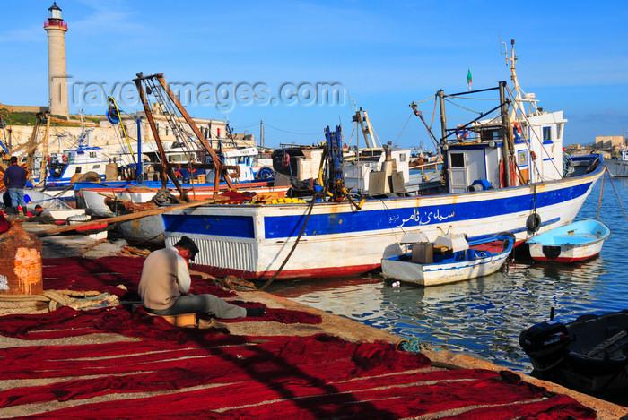 algeria445: Cherchell - Tipasa wilaya, Algeria / Algérie: harbour - trawler and red fishing nets on the pier | port - chalutier et filets de pêche rouges sur le quai - photo by M.Torres - (c) Travel-Images.com - Stock Photography agency - Image Bank