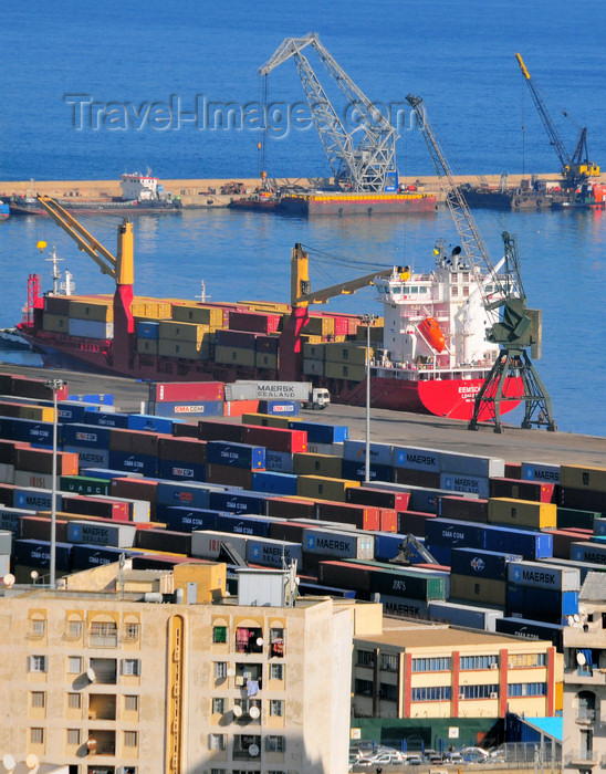 algeria520: Algiers / Alger - Algeria / Algérie: port - container terminal - fully cellular container ship Eemsdijk 869 TEU | port - terminal de conteneurs - porte-conteneurs Eemsdijk - photo by M.Torres - (c) Travel-Images.com - Stock Photography agency - Image Bank