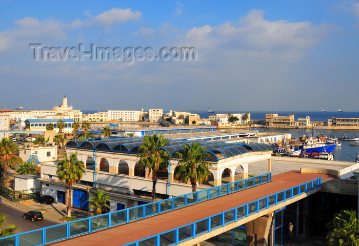 algeria550: Algiers / Alger - Algeria / Algérie: footbridge leading to the ferry terminal | passerelle piétonne d'accès a la gare maritime - Entreprise du port d'Alger (EPAL) - Rue d'Angkor - photo by M.Torres - (c) Travel-Images.com - Stock Photography agency - Image Bank