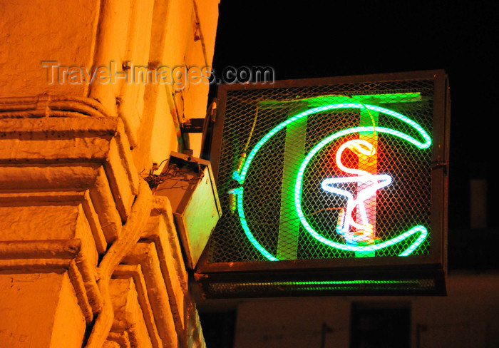 algeria552: Algiers / Alger - Algeria / Algérie: neon sign - a pharmacy is signaled by a crescent - Ahmed Bouzrina street, Port Said square | tube néon - une pharmacie est signalée par un croissant - rue Ahmed Bouzrina, ex-rue de La Lyre - Place Port Said, ex-Bresson - photo by M.Torres - (c) Travel-Images.com - Stock Photography agency - Image Bank