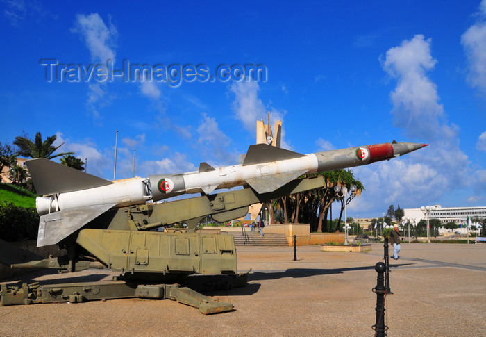 algeria693: Algiers / Alger - Algeria / Algérie: Soviet designed high-altitude, command guided, surface-to-air missile - Lavochkin OKB S-75 Dvina - NATO name SA-2 Guideline - Military Museum - Riad El Feth square, El Madania | SA-2 / Lavochkin OKB S-75 Dvina - missile soviétique sol-air guidé par radar - esplanade Riad El Feth, El Madania - photo by M.Torres - (c) Travel-Images.com - Stock Photography agency - Image Bank