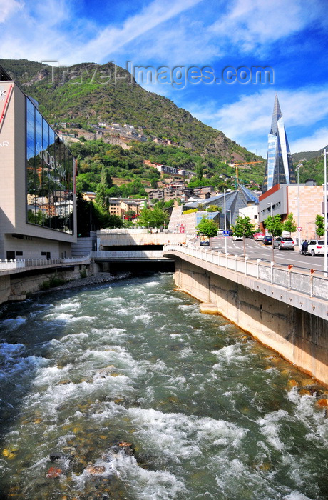andorra45: Escaldes-Engordany, Andorra: looking upstream along the River Valira - Andbank private bankers HQ and Caldea spa - view from the bridge on Carrer de Manel Cerqueda i Escaler - photo by M.Torres - (c) Travel-Images.com - Stock Photography agency - Image Bank