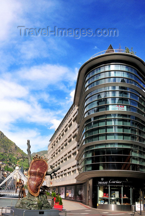 andorra47: Andorra la Vella, Andorra: building housing Andorra1 FM radio and sculpture 'La noblesse du temps', Salvador Dalí - Avinguda Meritxell, at Plaça de la Rotonda - Paris bridge in the background -  photo by M.Torres - (c) Travel-Images.com - Stock Photography agency - Image Bank