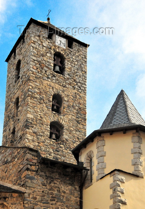 andorra50: Andorra la Vella, Andorra: St Esteve Church - undecorated Romanesque three-story stone bell-tower with clock - Església parroquial de Sant Esteve - photo by M.Torres - (c) Travel-Images.com - Stock Photography agency - Image Bank