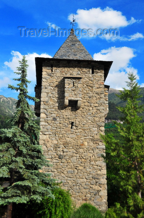 andorra55: Andorra la Vella, Andorra: Casa de la Vall - granite tower and trees - Consell General d'Andorra - Carrer de la Vall - photo by M.Torres - (c) Travel-Images.com - Stock Photography agency - Image Bank