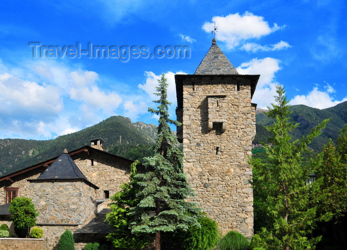 andorra56: Andorra la Vella, Andorra: Casa de la Vall, north side - headquarters of the General Council of Andorra, the unicameral parliament of Andorra - built in 1580 as a manor and tower defense by the Busquets family - mountains in the background - photo by M.Torres - (c) Travel-Images.com - Stock Photography agency - Image Bank