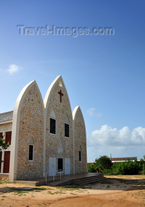 anguilla12: The Valley, Anguilla: the new St. Gerard's Roman Catholic Church, with a façade like 3 boats, mimics the old church - Carter Ray Boulevard - photo by M.Torres - (c) Travel-Images.com - Stock Photography agency - Image Bank