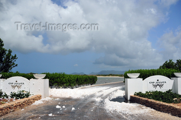 anguilla17: Cove Pond, West End Village, Anguilla: entrance to Cap Juluca five-star resort covered in natural white foam - photo by M.Torres - (c) Travel-Images.com - Stock Photography agency - Image Bank