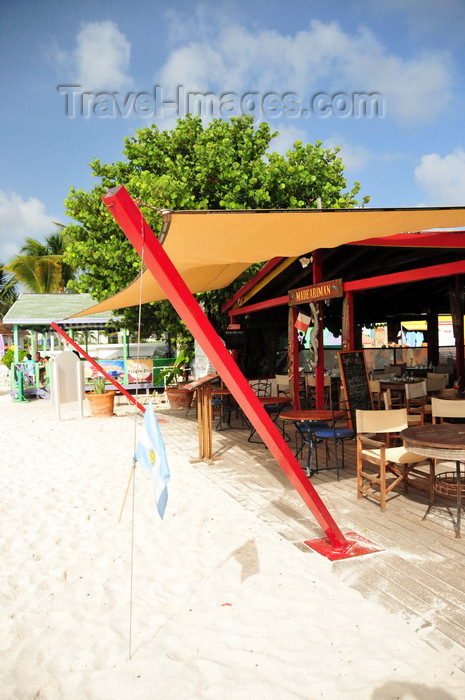anguilla36: Shoal Bay East beach, Anguilla: beach bar with the Argentinean flag - Madeariman - photo by M.Torres - (c) Travel-Images.com - Stock Photography agency - Image Bank