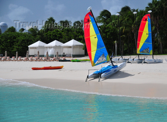 anguilla45: Maundays Bay, West End Village, Anguilla: Caribbean beach scene - mini-catamarans and beach gazebos - Cap Juluca hotel - photo by M.Torres - (c) Travel-Images.com - Stock Photography agency - Image Bank