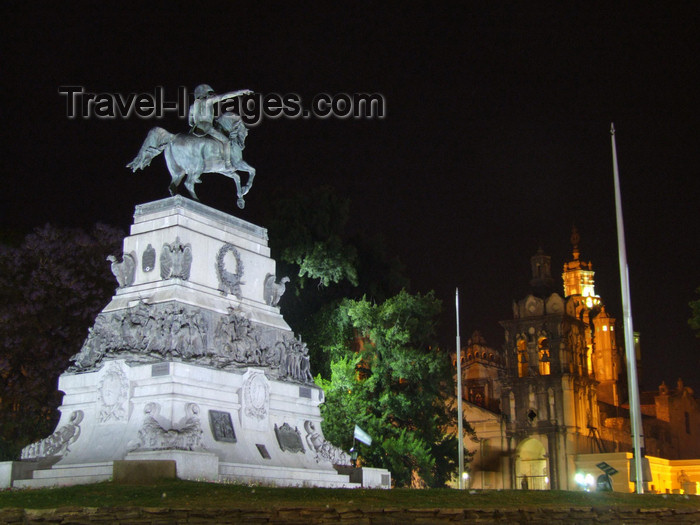 argentina202: Argentina - Córdoba - Plaza San Martin - statue of General José de San Martín and the Cathedral - nocturnal - images of South America by M.Bergsma - (c) Travel-Images.com - Stock Photography agency - Image Bank