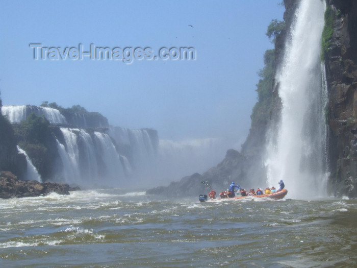 argentina235: Argentina - Iguazu Falls - Zodiac under the falls - images of South America by M.Bergsma - (c) Travel-Images.com - Stock Photography agency - Image Bank