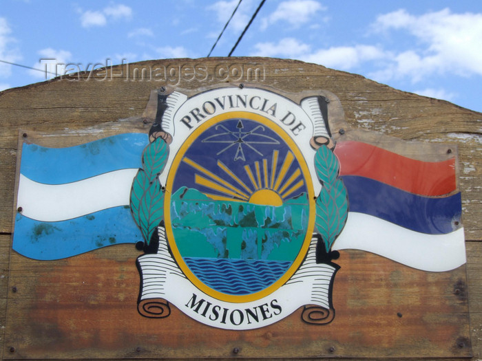 argentina242: Argentina - Puerto Iguazu - Provincia de Misiones coat of arms - images of South America by M.Bergsma - (c) Travel-Images.com - Stock Photography agency - Image Bank