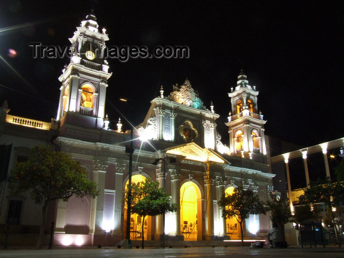 argentina251: Argentina - Salta - Cathedral façade - Plaza 9 de Julio - nocturnal - images of South America by M.Bergsma - (c) Travel-Images.com - Stock Photography agency - Image Bank