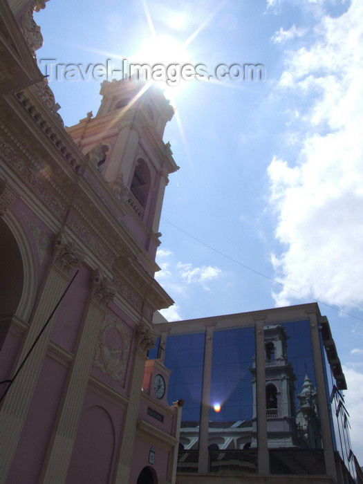 argentina252: Argentina - Salta - Cathedral reflecting on glass façade - images of South America by M.Bergsma - (c) Travel-Images.com - Stock Photography agency - Image Bank
