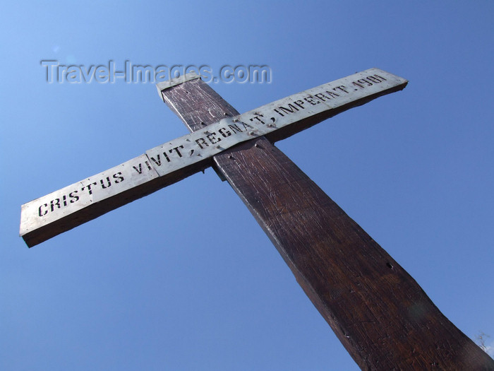 argentina254: Argentina - Salta - Christian cross at Cerro San Bernardo - 'Cristus vivit, regnat, imperat' - images of South America by M.Bergsma - (c) Travel-Images.com - Stock Photography agency - Image Bank
