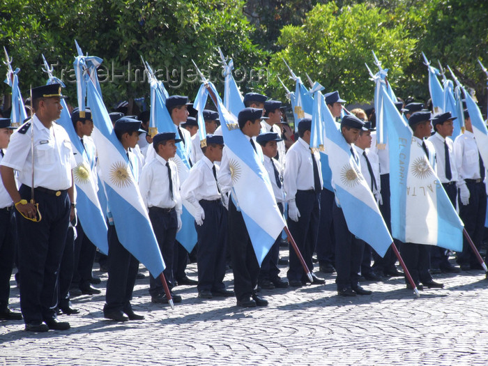 argentina255: Argentina - Salta - Day of the Cuerpo infantil de policia - children in police uniform with Argentinean flags - images of South America by M.Bergsma - (c) Travel-Images.com - Stock Photography agency - Image Bank