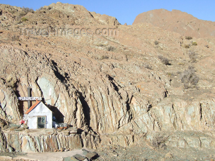 argentina284: Argentina - Salta province  - Stop at Abra Blanca on the road for El tren a las nubes - altitude 4080m - small shrine for Defunta Correa - images of South America by M.Bergsma - (c) Travel-Images.com - Stock Photography agency - Image Bank