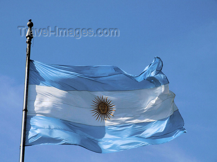 argentina303: Argentina - Buenos Aires - Argentinean Flag at the Plaza de Mayo - images of South America by M.Bergsma - (c) Travel-Images.com - Stock Photography agency - Image Bank