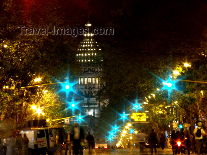 argentina305: Argentina - Buenos Aires - Avenida de Mayo and Congress - nocturnal - images of South America by M.Bergsma - (c) Travel-Images.com - Stock Photography agency - Image Bank