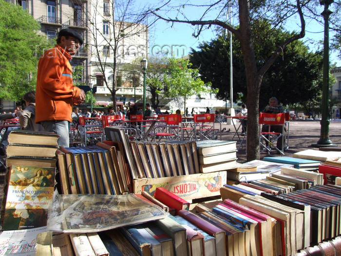argentina310: Argentina - Buenos Aires - Book market at the Plaza Dorrego, San Telmo - images of South America by M.Bergsma - (c) Travel-Images.com - Stock Photography agency - Image Bank