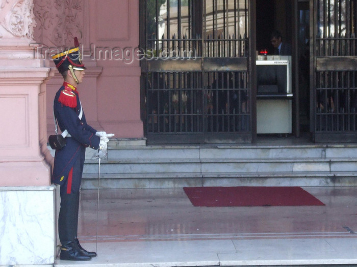 argentina323: Argentina - Buenos Aires - Guard in front of the Casa Rosadoa - images of South America by M.Bergsma - (c) Travel-Images.com - Stock Photography agency - Image Bank