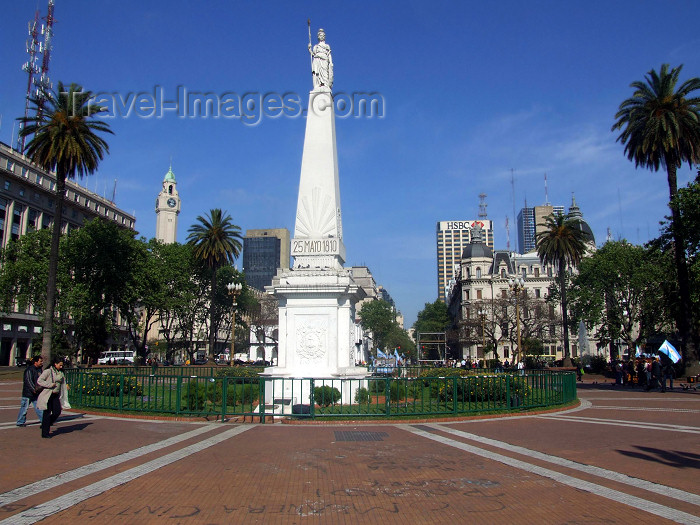 argentina334: Argentina - Buenos Aires - Obelisk at the Plaza de Mayo - 'Pirámide de Mayo' by Francisco Cañete - images of South America by M.Bergsma - (c) Travel-Images.com - Stock Photography agency - Image Bank