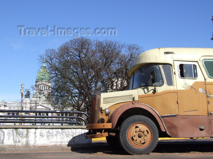 argentina336: Argentina - Buenos Aires - Old truck and The Congress - images of South America by M.Bergsma - (c) Travel-Images.com - Stock Photography agency - Image Bank