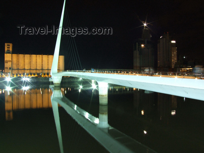 argentina344: Argentina - Buenos Aires - Puerto Madero - bridge and silosnocturnal - images of South America by M.Bergsma - (c) Travel-Images.com - Stock Photography agency - Image Bank