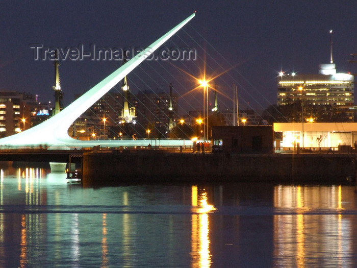 argentina345: Argentina - Buenos Aires - Puerto Madero - harp bridge - nocturnal - images of South America by M.Bergsma - (c) Travel-Images.com - Stock Photography agency - Image Bank