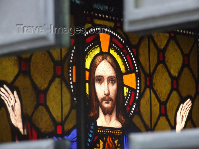 argentina353: Argentina - Buenos Aires - Recoleta cemetery - Christ - stained glass - images of South America by M.Bergsma - (c) Travel-Images.com - Stock Photography agency - Image Bank