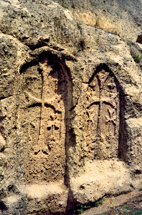 armenia104: Armenia - Geghardavank / Geghard (Kotayk province): Khachkars carved on the cliff face - Unesco world heritage site - photo by M.Torres - (c) Travel-Images.com - Stock Photography agency - Image Bank