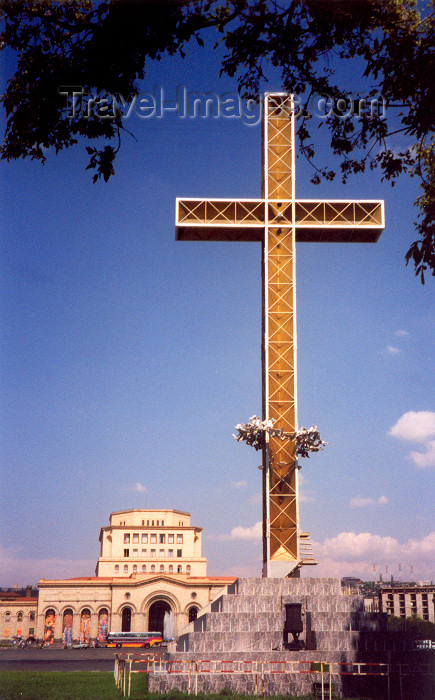 armenia108: Armenia -  Yerevan: cross and National art gallery in Republic Square - photo by M.Torres - (c) Travel-Images.com - Stock Photography agency - Image Bank