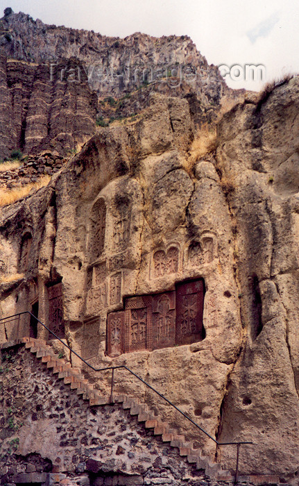 armenia68: Armenia - Geghardavank / Geghard (Kotayk province): Khachkars carved on the cliffs of the Azat river gorge - Unesco world heritage site - photo by M.Torres - (c) Travel-Images.com - Stock Photography agency - Image Bank