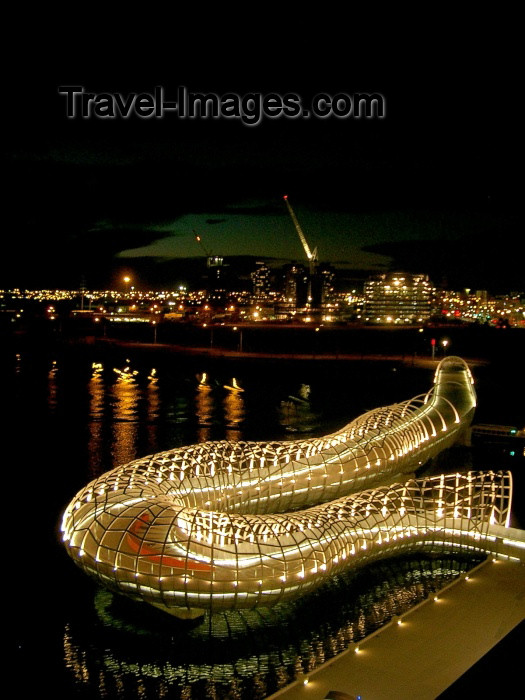 australia147: Australia - Melbourne (Victoria): Webb bridge - architects When Denton Corker & Marshall (DCM) - Yarra River at night - Docklands - photo by Luca Dal Bo - (c) Travel-Images.com - Stock Photography agency - Image Bank