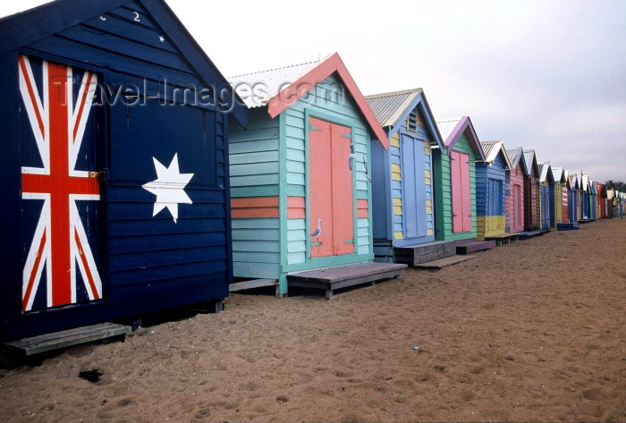 australia213: Australia - Melbourne (Victoria): Brighton Beach - huts - photo by  Picture Tasmania/Steve Lovegrove - (c) Travel-Images.com - Stock Photography agency - Image Bank