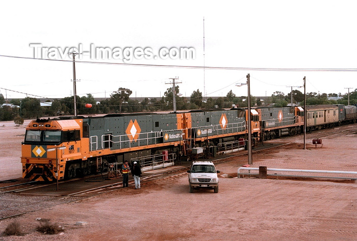 australia381: Australia - Cook (SA): goods train stops for refueling at the Nullarbor outpost - photo by Rod Eime - (c) Travel-Images.com - Stock Photography agency - Image Bank