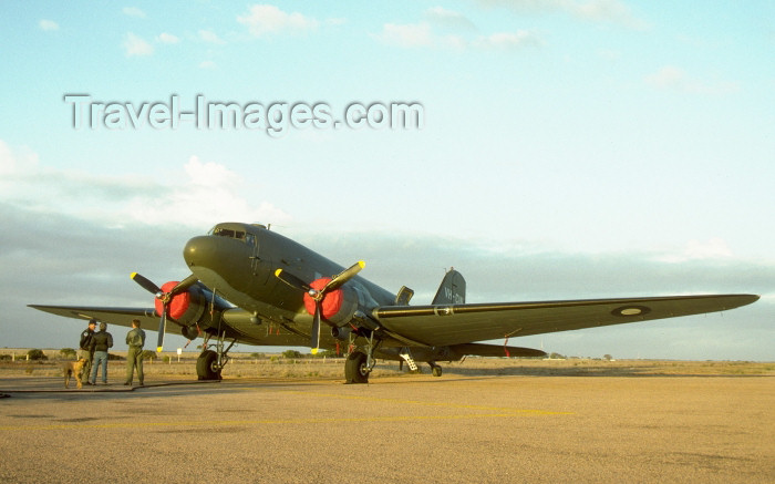 australia387: Australia - Ceduna: RAAF McDonnell Douglas C-47 Dakota aircraft taking a break en route to Point Cook - VH-CIN - photo by Rod Eime - (c) Travel-Images.com - Stock Photography agency - Image Bank