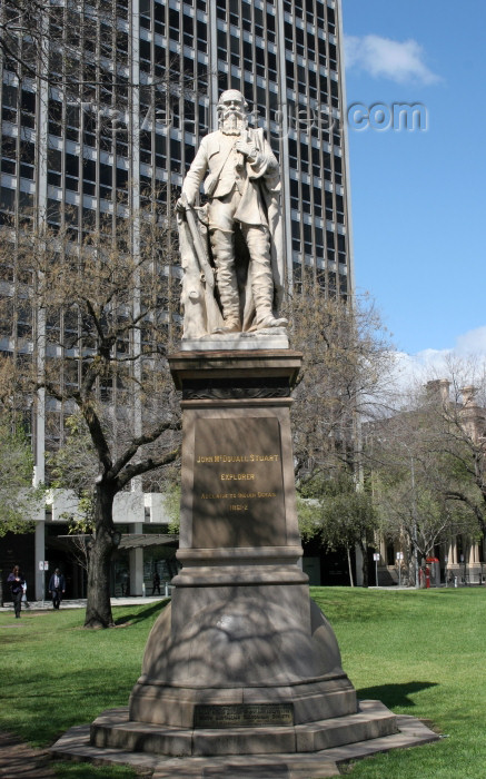 "australia558: Australia - Adelaide (SA): Statue of John McDouall Stuart at Victoria Square. Inscription reads ""John McDouall Stuart, Explorer, Adelaide to Indian Ocean 1861-2 - photo by R.Zafar - (c) Travel-Images.com - Stock Photography agency - Image Bank"