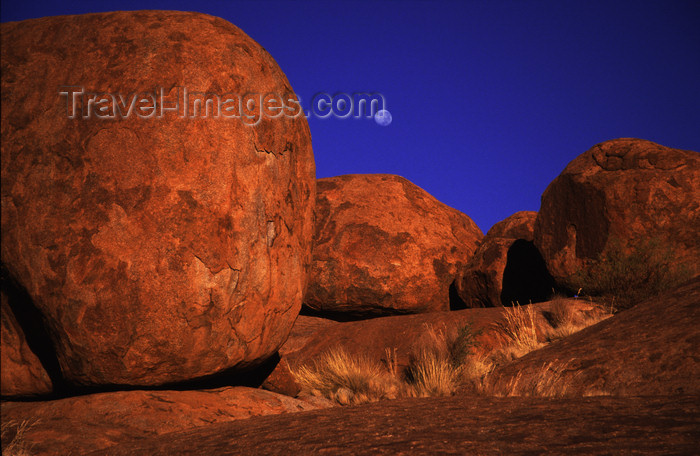 australia734: Devil's Marbles Conservation Reserve, NT, Australia: rounded boulders and moon - photo by Y.Xu - (c) Travel-Images.com - Stock Photography agency - Image Bank